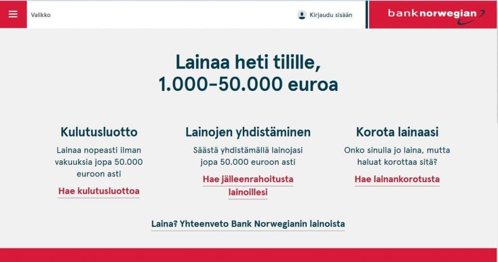 Bank Norwegian kotisivu