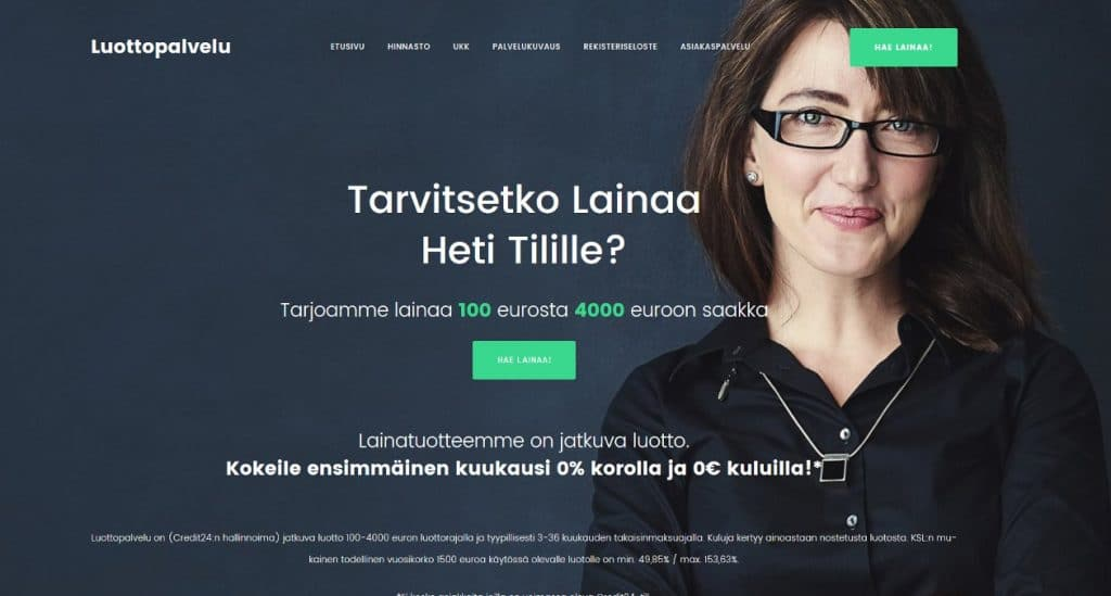 Luottopalvelu.fi kotisivu
