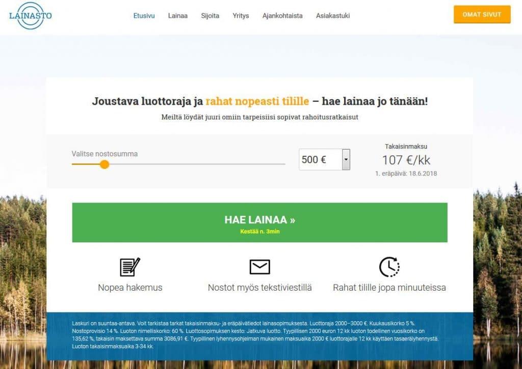 Lainasto.fi kotisivu