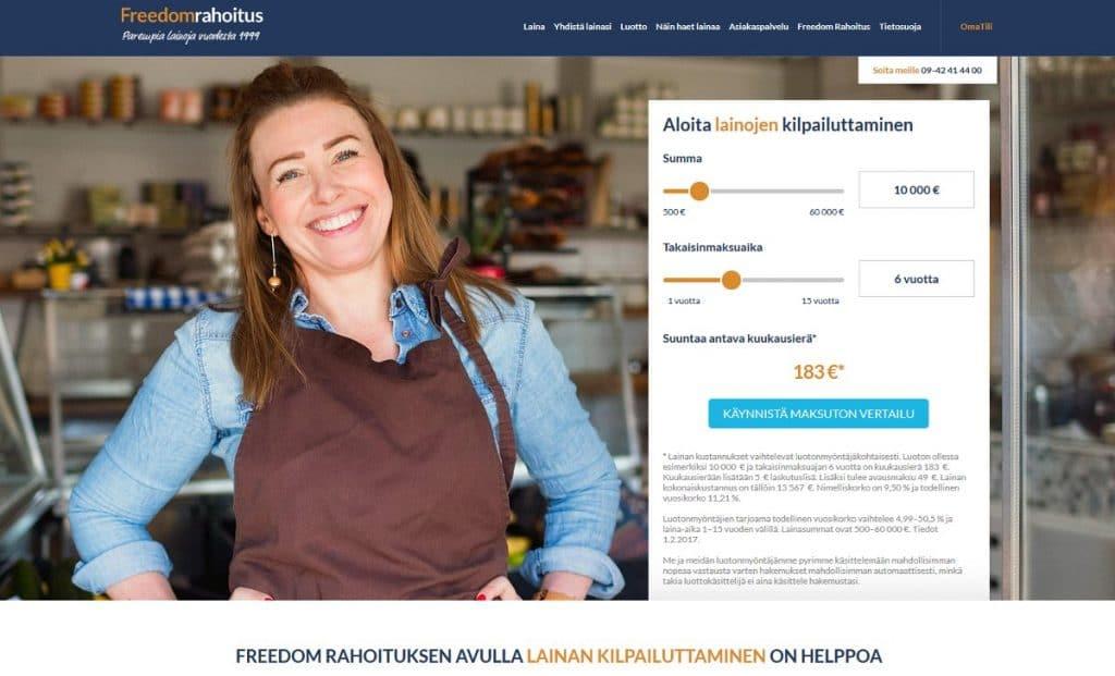 Freedomrahoitus.fi kotisivu
