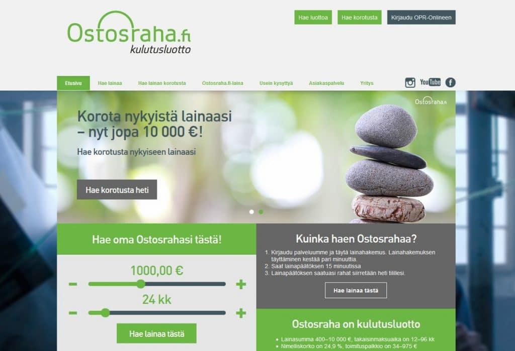 Ostosraha.fi kotisivu
