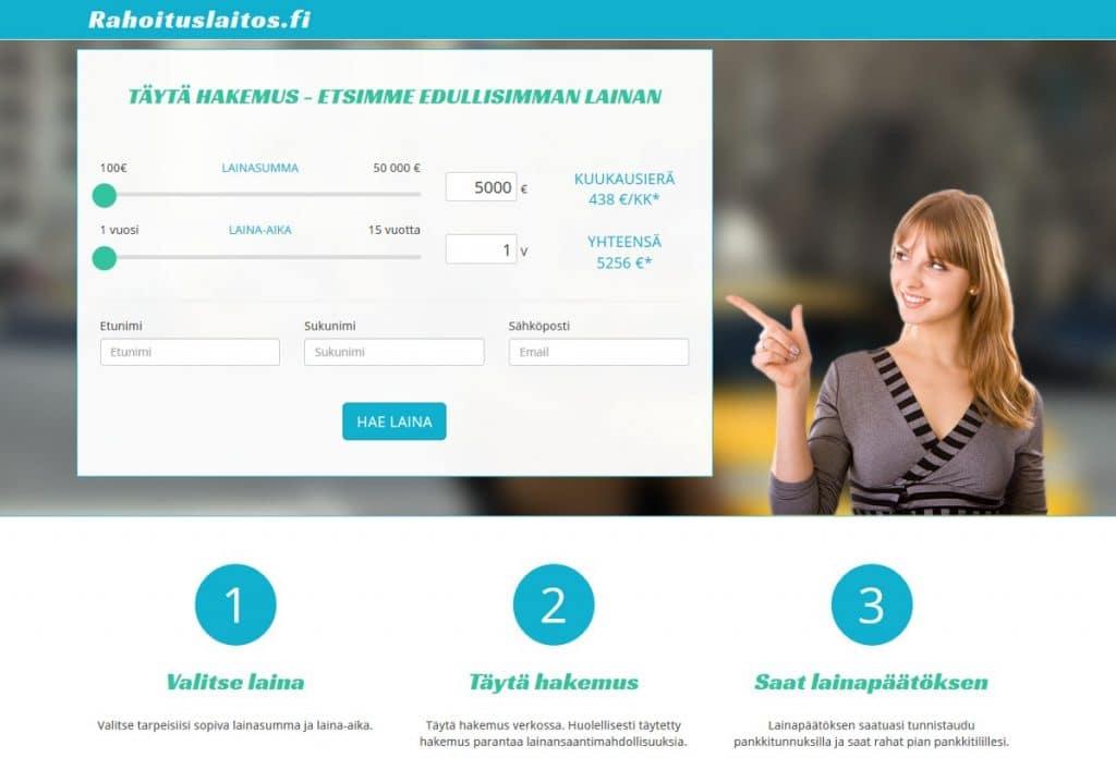 Rahoituslaitos.fi kotisivu