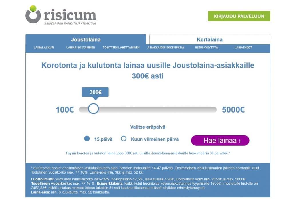 Risicum.fi kotisivu