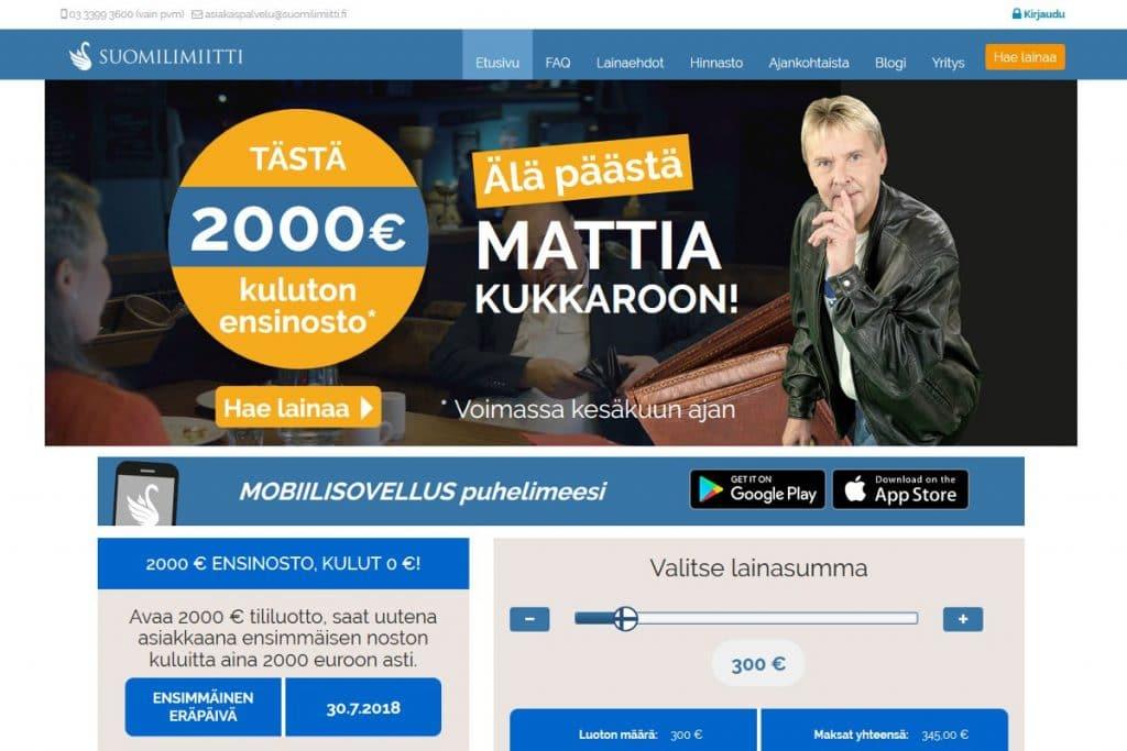 Suomilimiitti.fi kotisivu