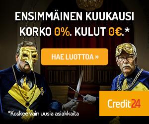 Credit24 laina - 0€ kulut, 0% korko