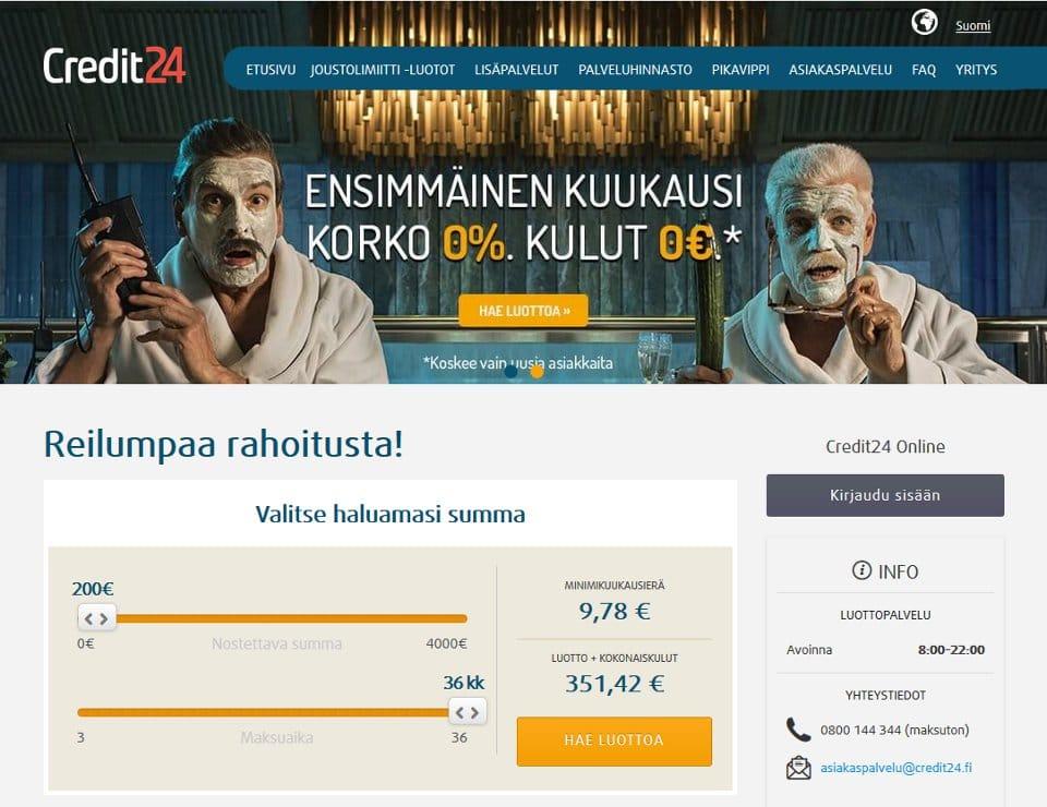 Credit24.fi kotisivu