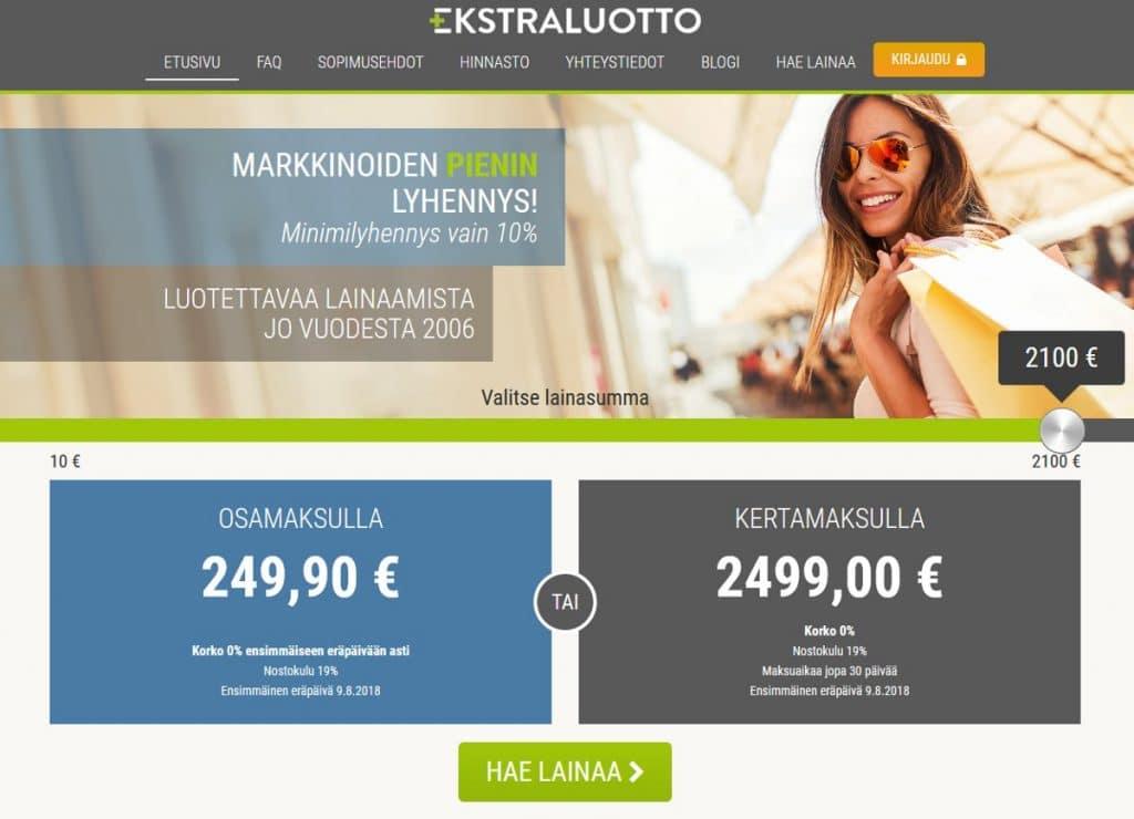 Ekstraluotto.fi kotisivu