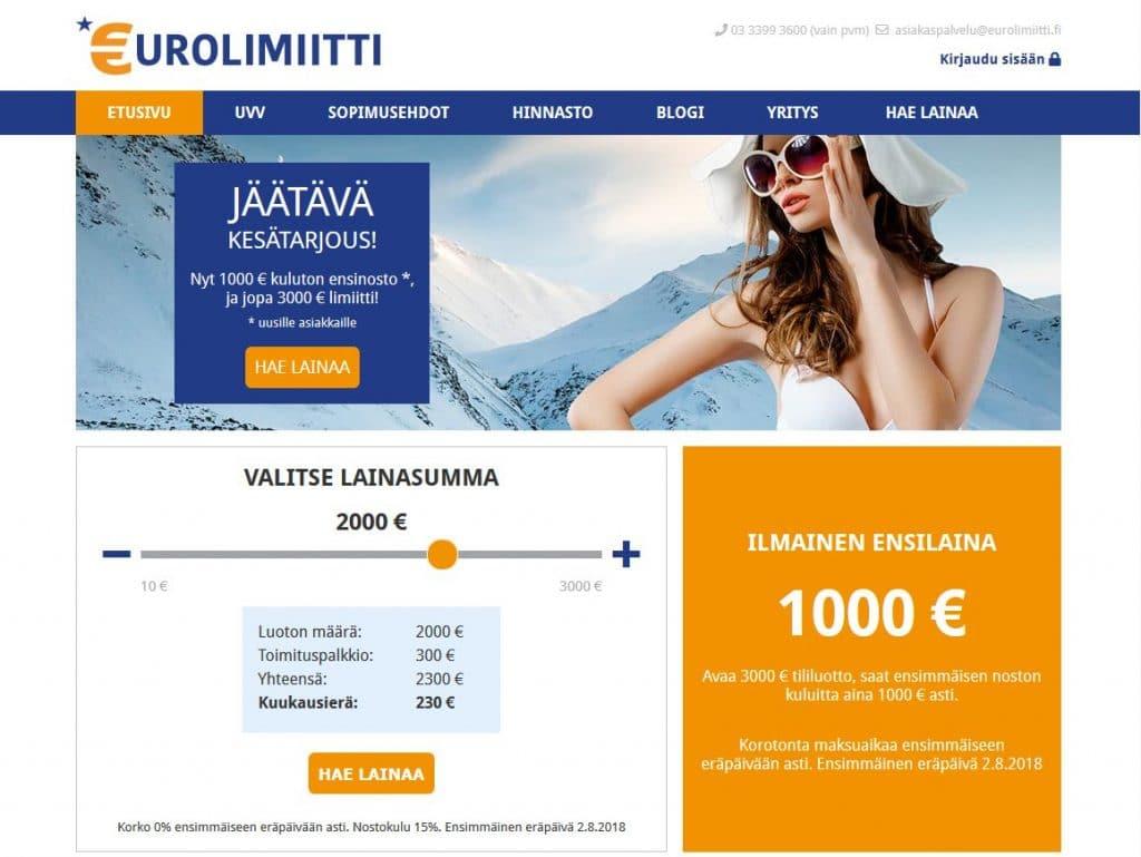 Eurolimiitti.fi kotisivu
