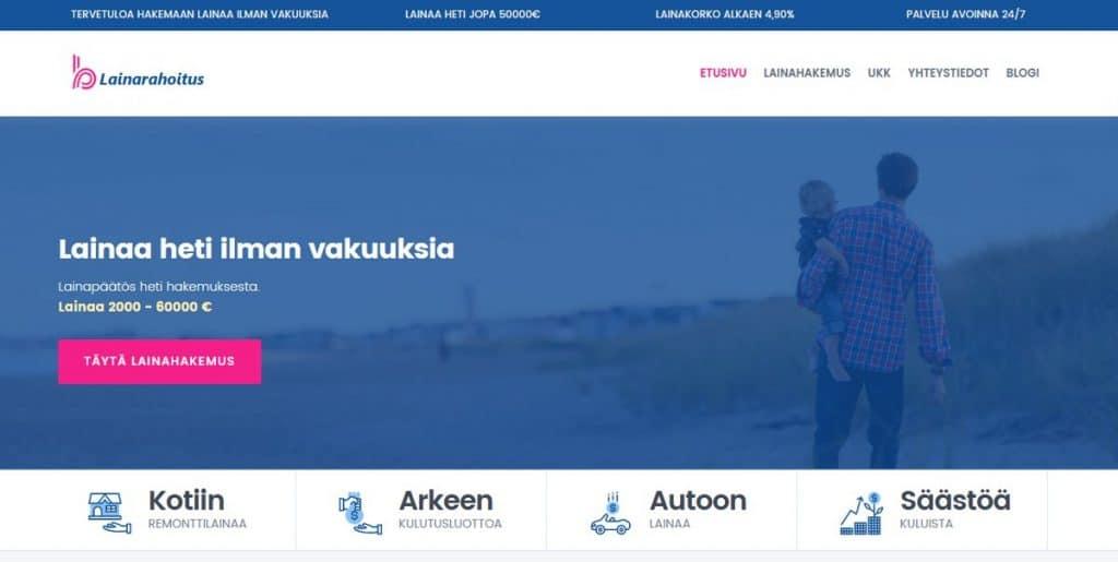 Lainarahoitus.fi kotisivu