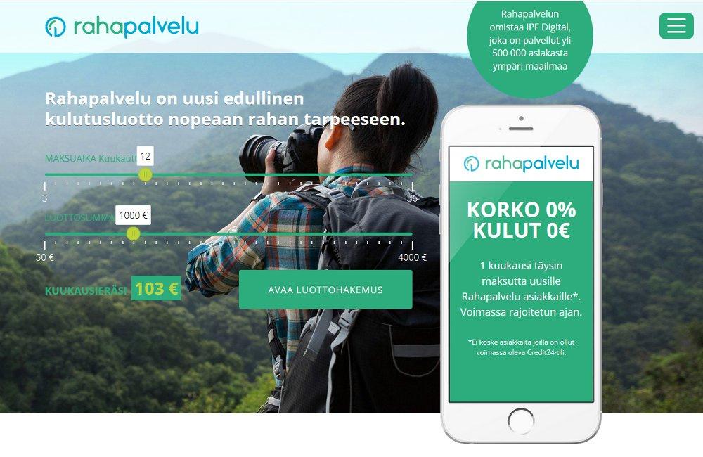 Rahapalvelu.fi kotisivu