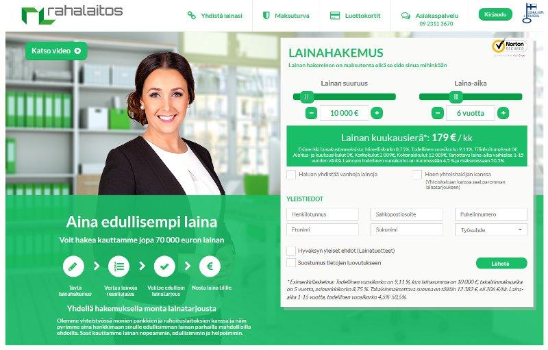 Rahalaitos.fi kotisivu