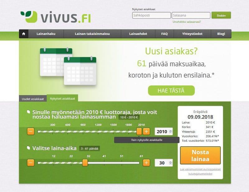 Vivus.fi kotisivu