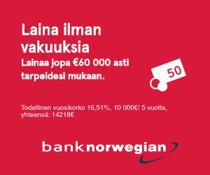Bank Norwegian lainaa 60 000€ asti