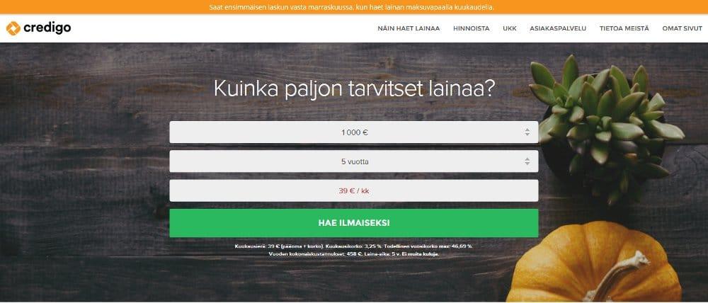 Credigo.fi kotisivu