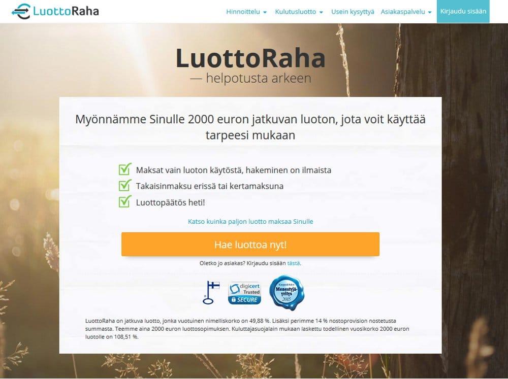 Luottoraha.fi kotisivu