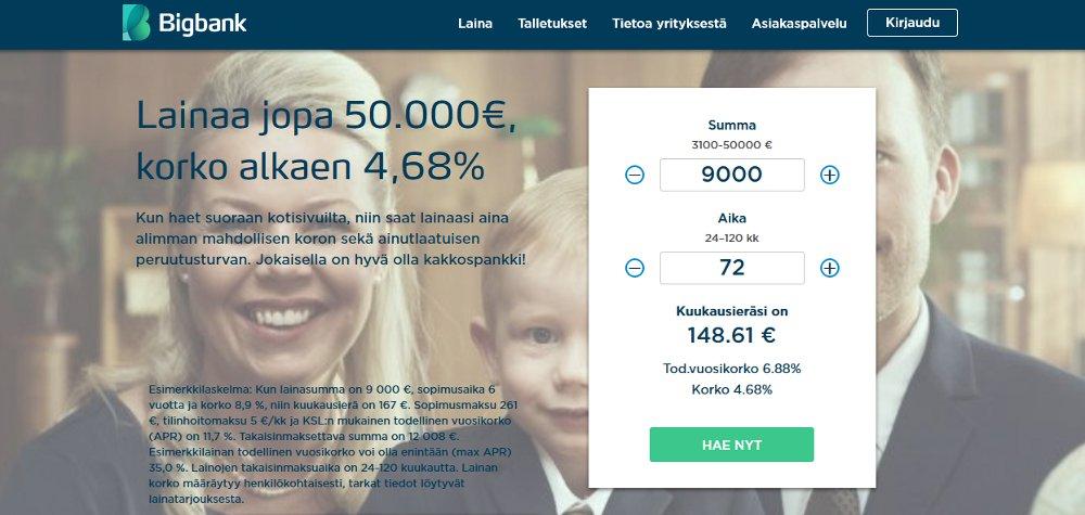 Bigbank.fi kotisivu