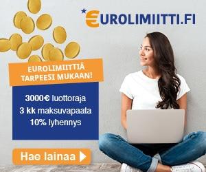 Eurolimiitti - 1 000€ koroton & kuluton ensilaina