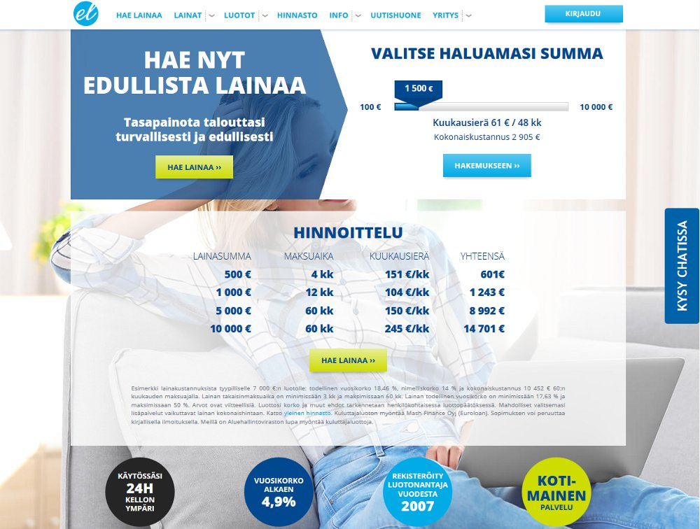 Euroloan.fi kotisivu