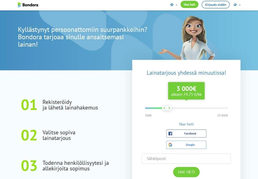 Bondora.fi kotisivu